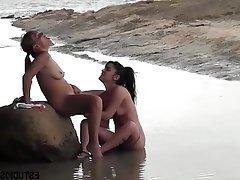 Beach, Lesbian, MILF, Teen